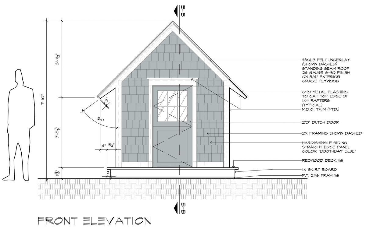 The Cottage House - Front Elevation construction drawing