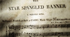 """NEW YORK, NY - NOVEMBER 30: A rare first edition of the sheet music of the """"Star Spangled Banner"""", estimated at $200,000-$300,000, is displayed at a press preview for the Fine Printed Books and Manuscripts including Americana sale at Christie's November 30, 2010 in New York City. It is the only known copy, one of 11 total, in private hands. The Christie's sale will take place December 3rd. (Photo by Mario Tama/Getty Images)"""