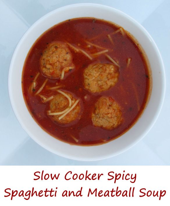 Slow Cooker Spicy Spaghetti and Meatball Soup