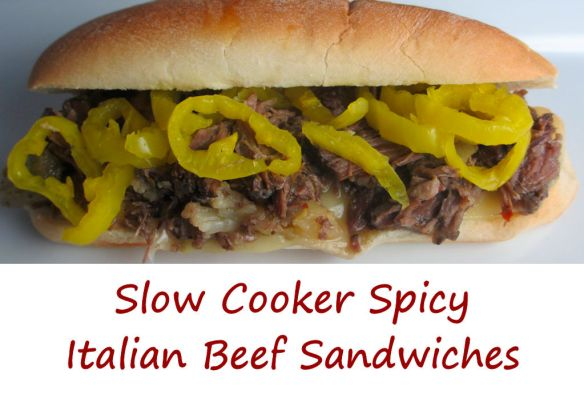 Slow Cooker Spicy Italian Beef Sandwiches
