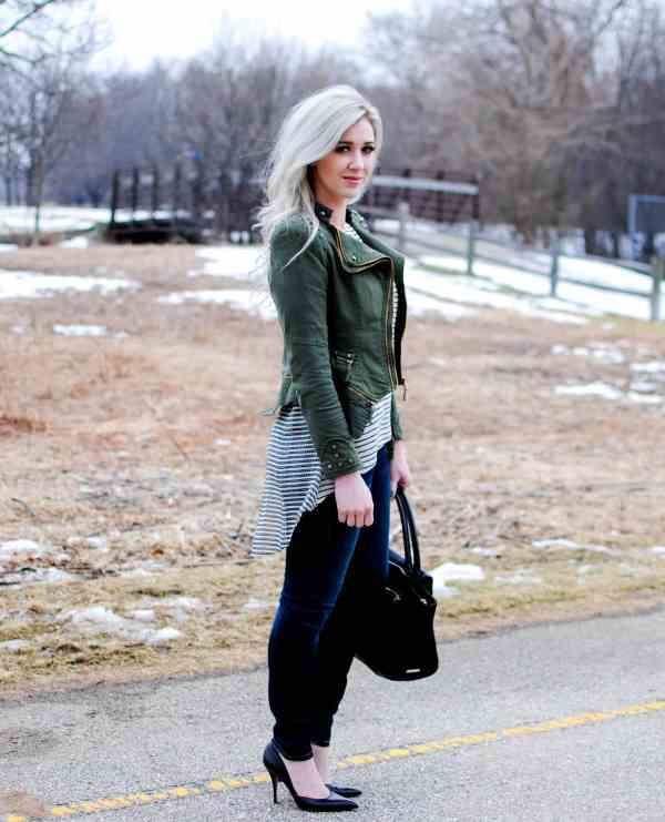 cookbook store green studded jacket