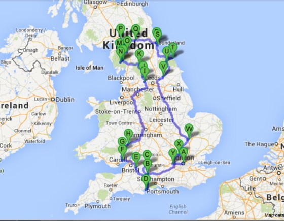 Road Trip Map of UK