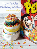 Fruity Pebbles Blueberry Muffins with Lemon Glaze
