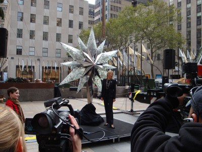 The Swarovski Star for the Christmas tree in New York on its presentation at Rockefeller Plaza