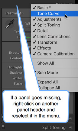 Lightroom missing panel