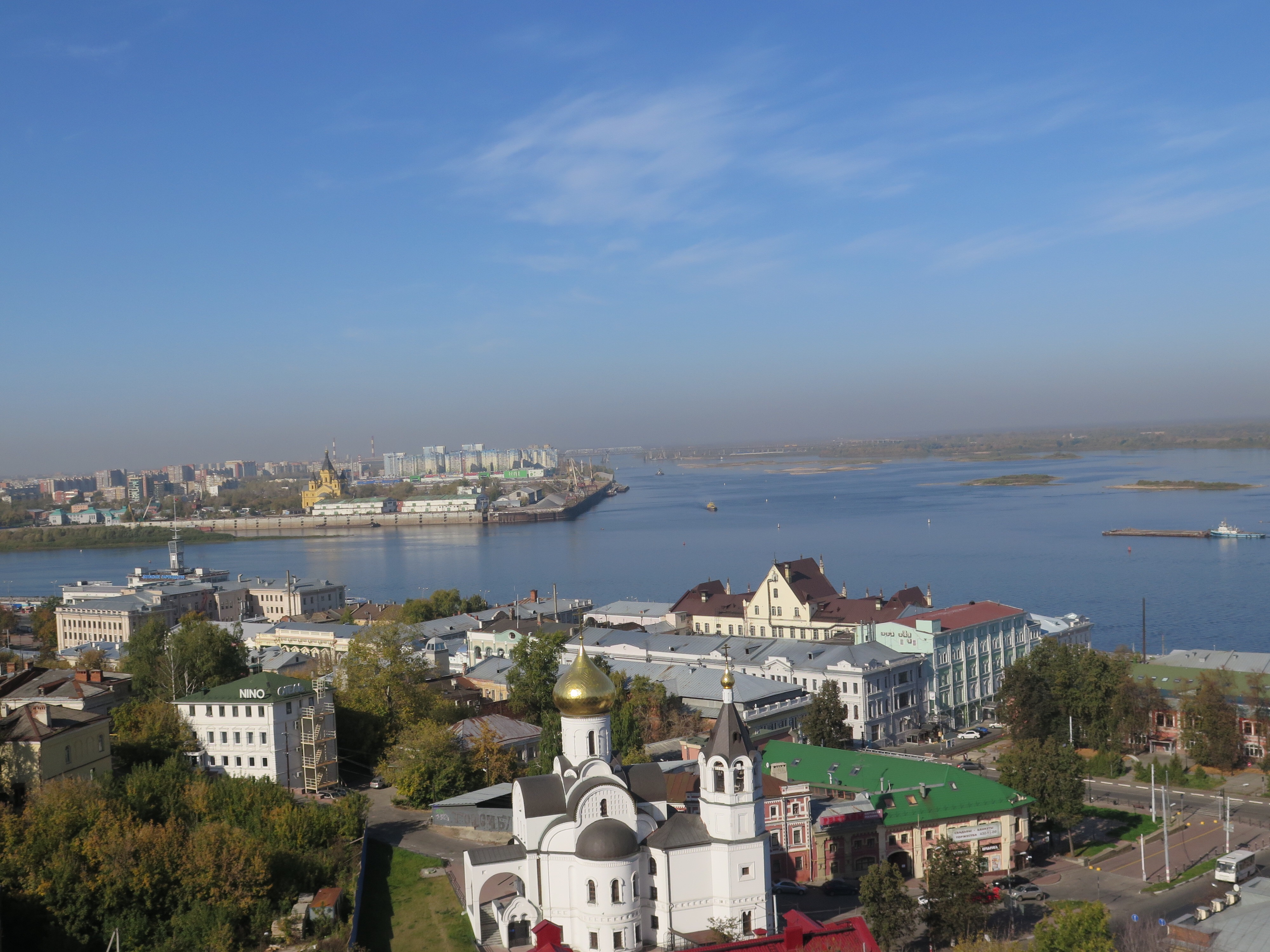 Looking out over Nizhny Novgorod from the kremlin wall. Nizhny is on teh bank of the Volga.