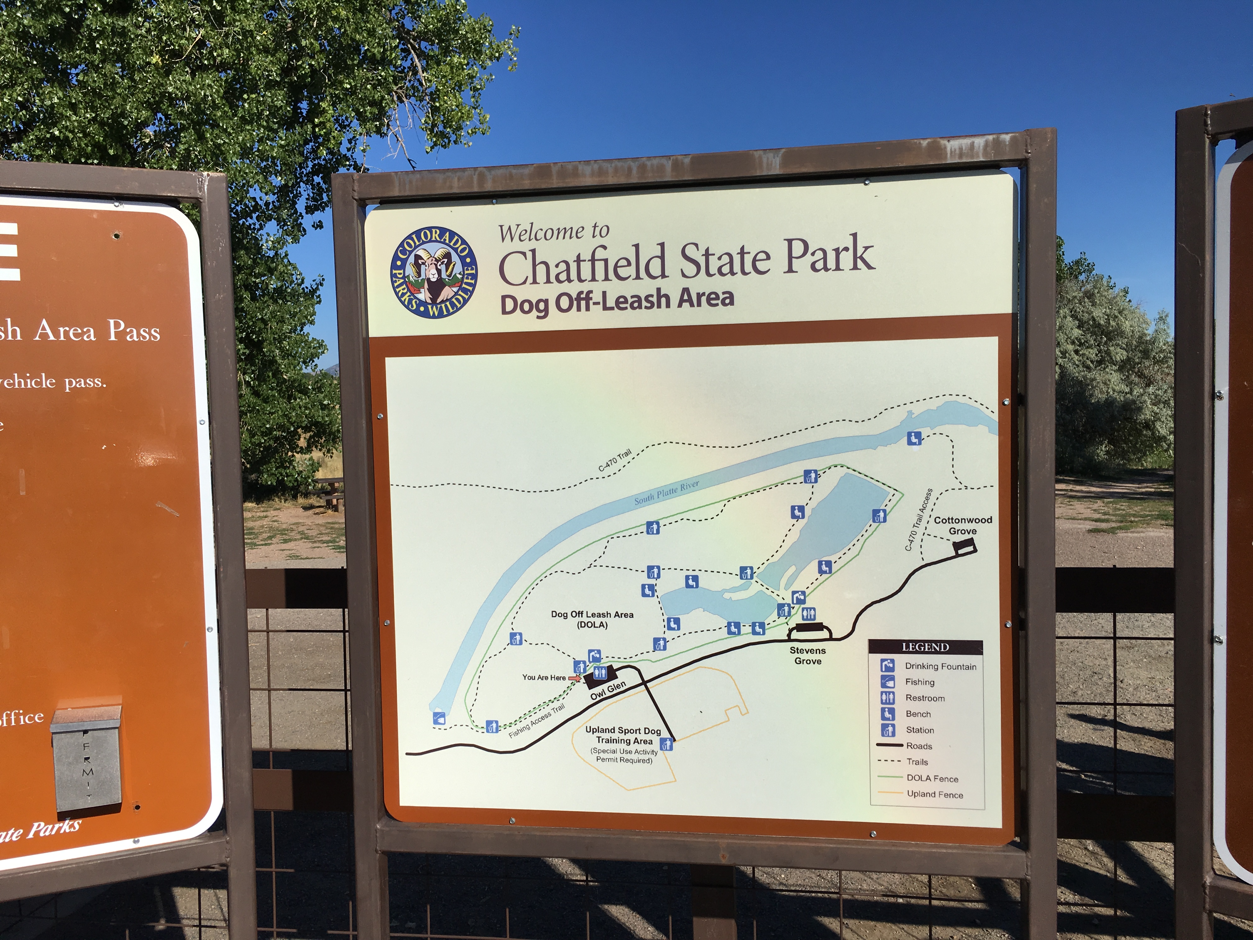 Map of the Off Leash Area at Chatfield State Park.