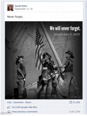 Sarah Palin Copyright Facebook Firemen Bit