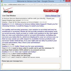 Verizon chat screen
