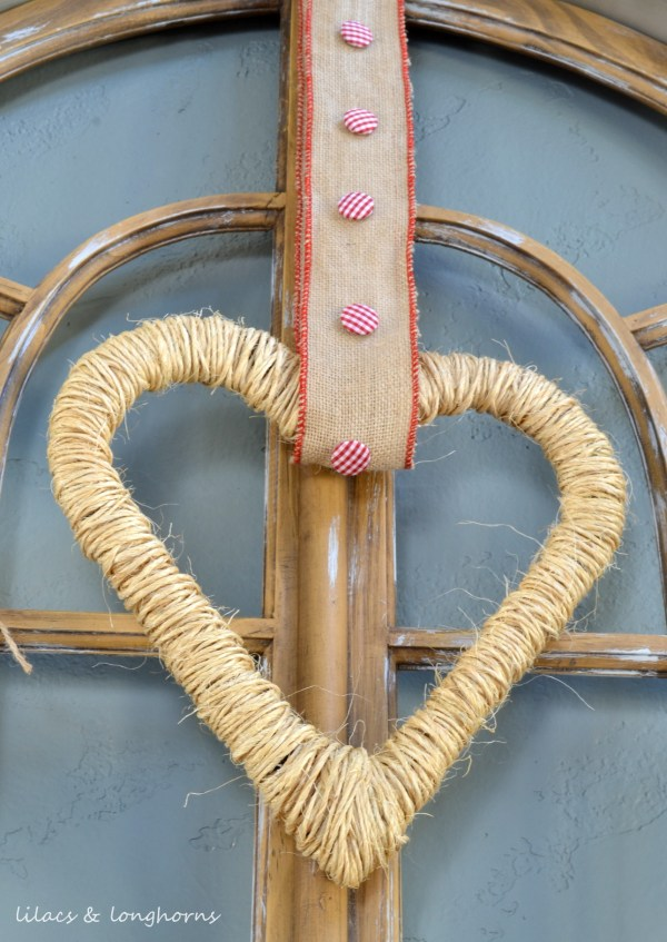 jute valentine heart wreath