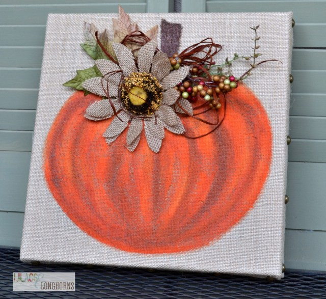 burlap pumpkin painting fall decor
