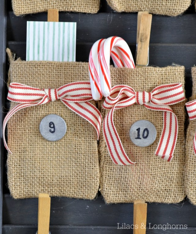 Inexpensive burlap bags make the perfect little pockets for goodies in this advent calendar!