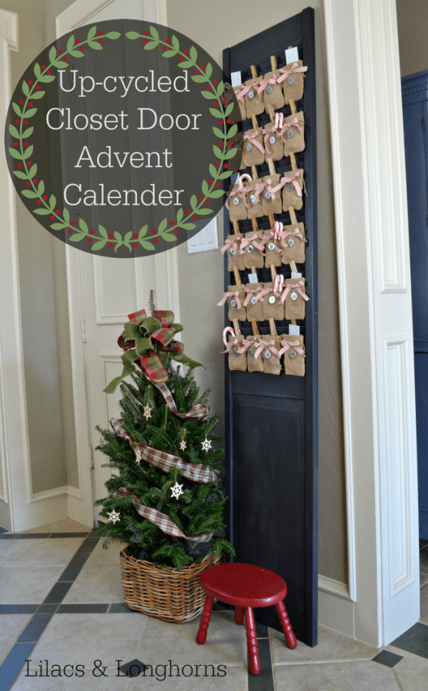 Up-cycled closet door with louvers makes it the perfect place for an advent calender!