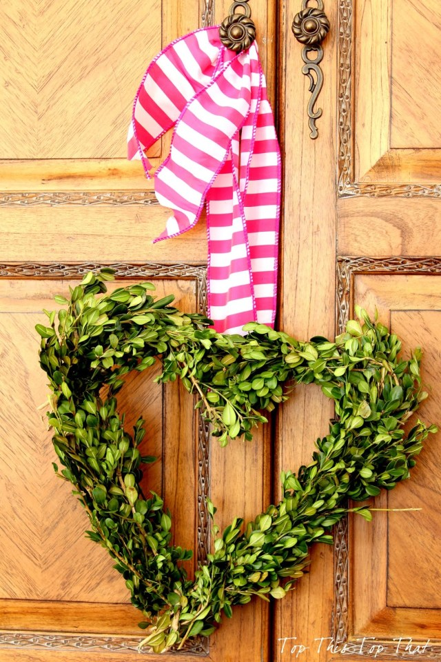 DIY heart boxwood wreath is so easy anyone can make it!