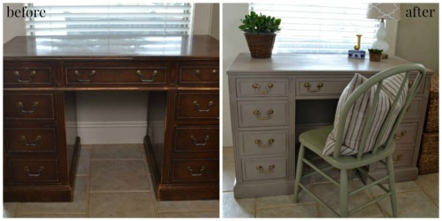 before and after of an old desk and the results