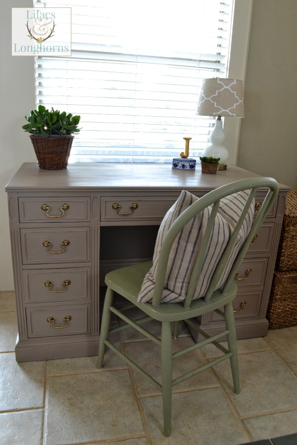 desk painted in Annie Sloan Chalk Paint Coco