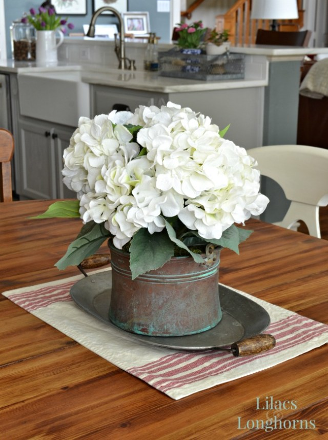hydrangeas on farmhouse table