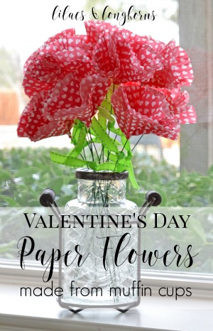 Valentine's Day paper flowers made from muffin cups