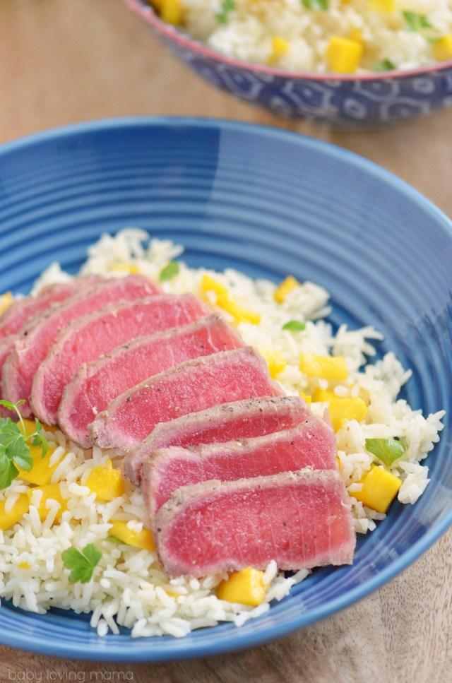 Seared-Ahi-Tuna-with-Mango-Rice