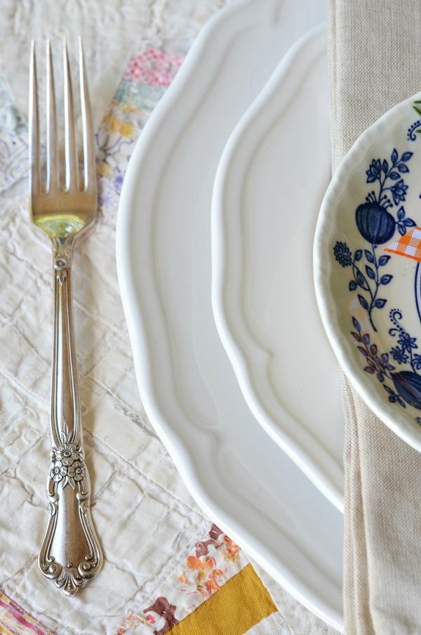 vintage silverware white plates