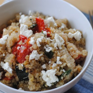 Tomato, Spinach & Zucchini Quinoa with Goat Cheese