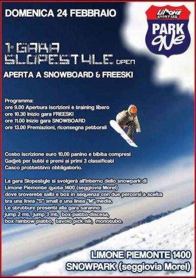 1° GARA SLOPESTYLE open APERTA A SNOWBOARD & FREESKI
