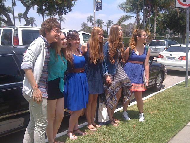 Performing arts friends enjoying their day of Orange County Limousine Service