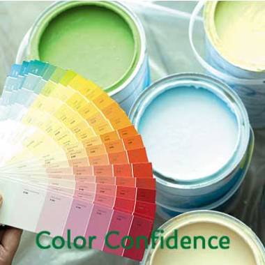 color confidence, paint cans and paint fan, linda varone