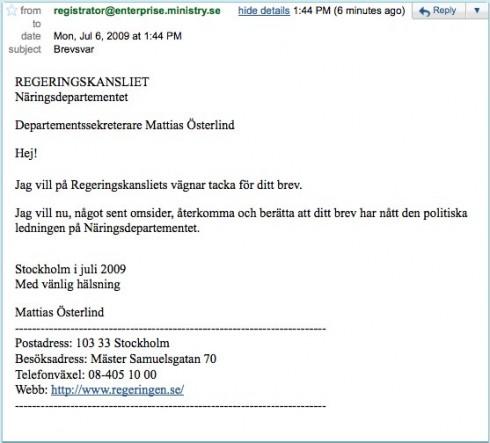 Gmail - Brevsvar - regeringskansliet