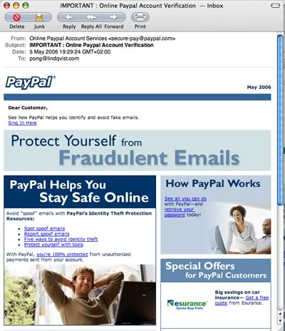 E-mail: Not PayPal - A scammer in a phishing attempt with a mail from Paypal.