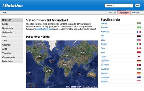 Miniatlas - kartor och fakta om världens alla länder och städer