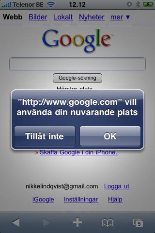 Google.com vill använda din nuvarande plats.