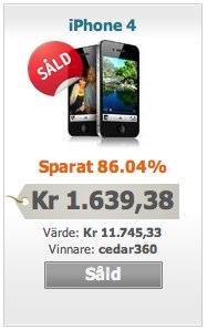 Avslutad auktion på iPhone hos Ziinga