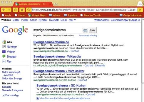 Sökning efter sverigedemokraterna på Google.se 23 juni 2010