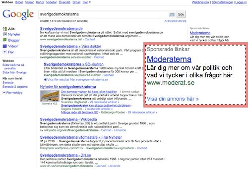 Moderaterna köper AdWords-annonser på ordet sverigedemokraterna