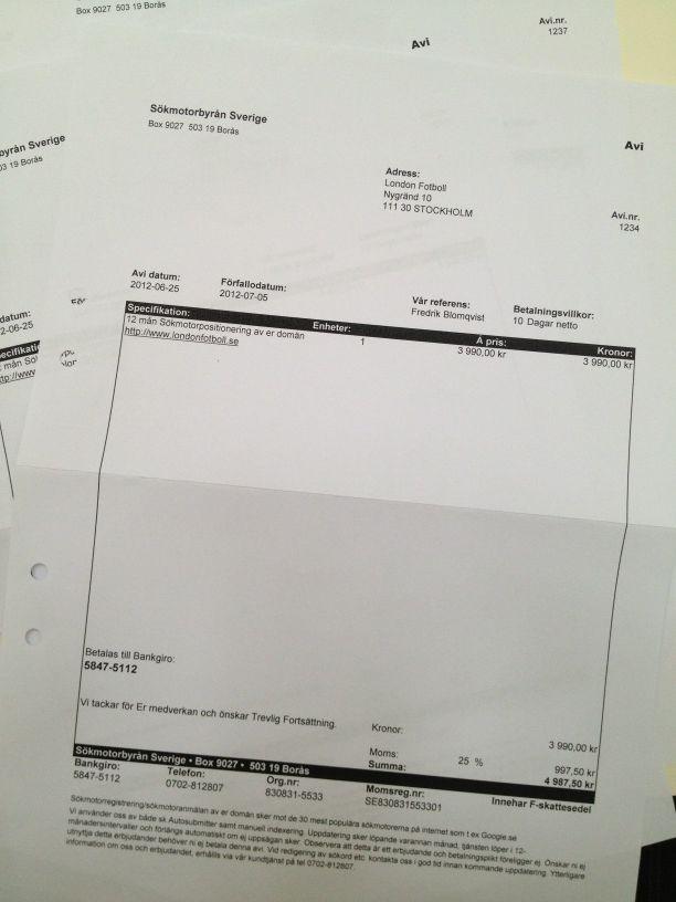 Bluffakturor från sökmotorbyrån Sverige