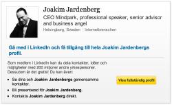 Jocke Jardenberg har bara sin yrkesroll i presentationen.