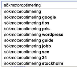Sökförslag för sökfrasen sökmotoroptimering