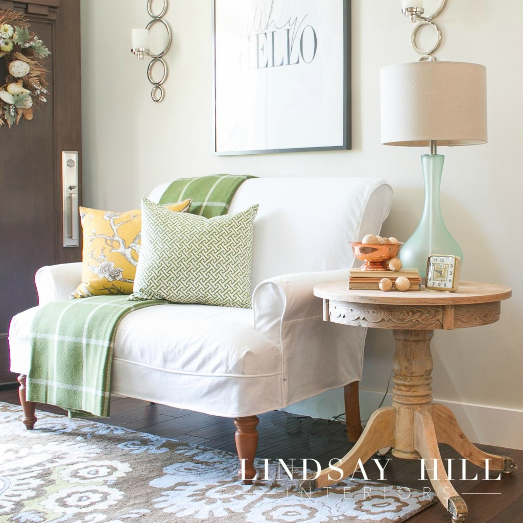 end table in entryway