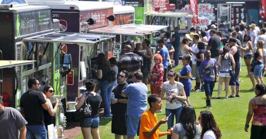 SAN BERNARDINO, Calif. (April 22, 2012)  Food trucks circle the outfield at San Manuel Stadium during 2012 Route 66 Food Truck Festival. Twenty-one food trucks turned out for the first-ever event to benefit Symphonie Jeunesse youth orchestra for strings. Greg Vojtko/Correspondent)