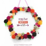 Scrappy Flower Hexagon Wreath