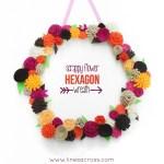 Scrappy Flower Hexagon Wreath