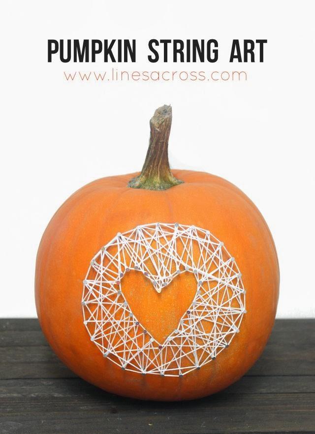 pumpkin string art lines across. Black Bedroom Furniture Sets. Home Design Ideas