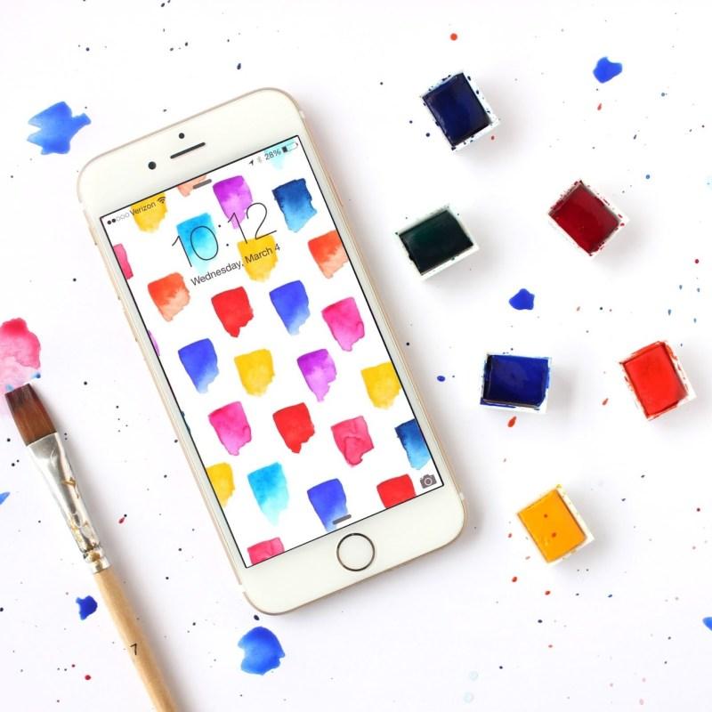 Free Brushstrokes Watercolor iPhone Wallpapers