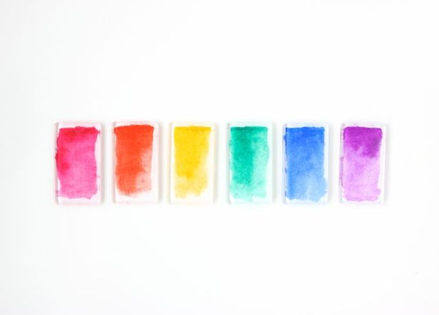 Rainbow Watercolor Magnets @linesacross