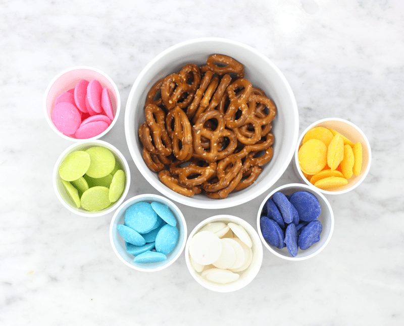 Colorful Pretzels made with white chocolate candy melts