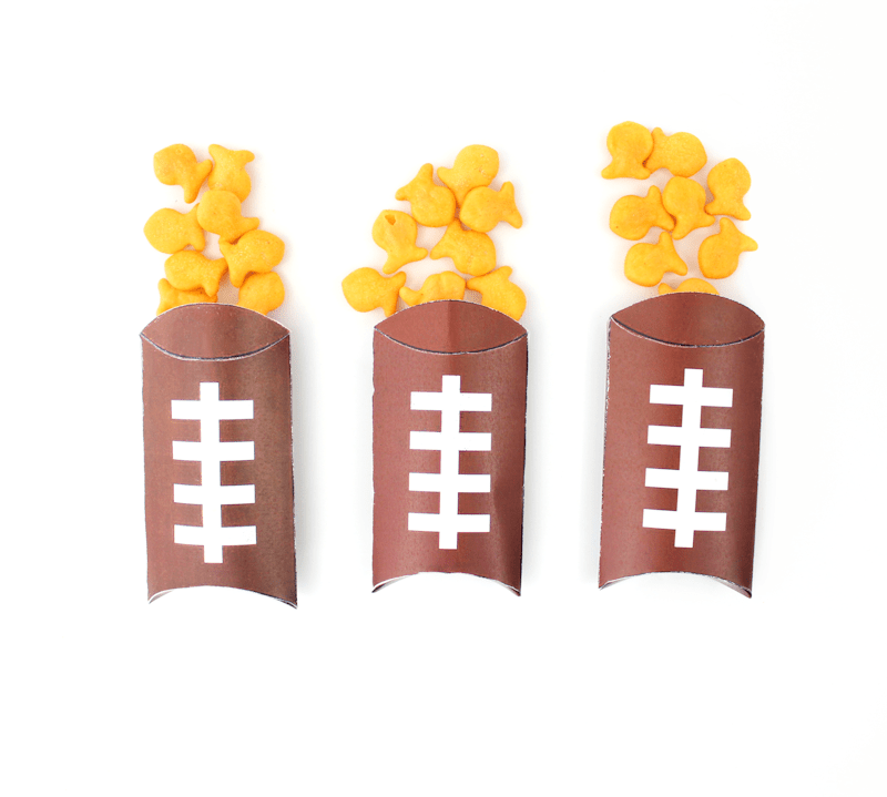 Free Printable Football Pillow Boxes filled with Goldfish 4