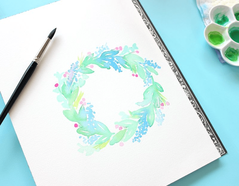 How to paint a watercolor wreath