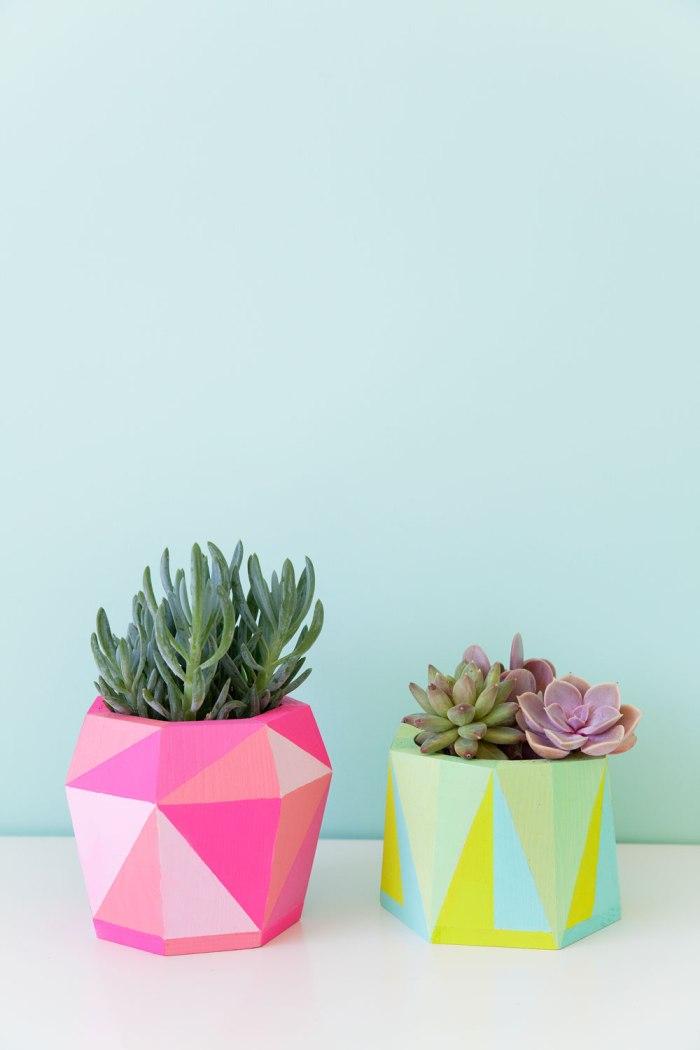 Painted Geometric pots - DIY planters