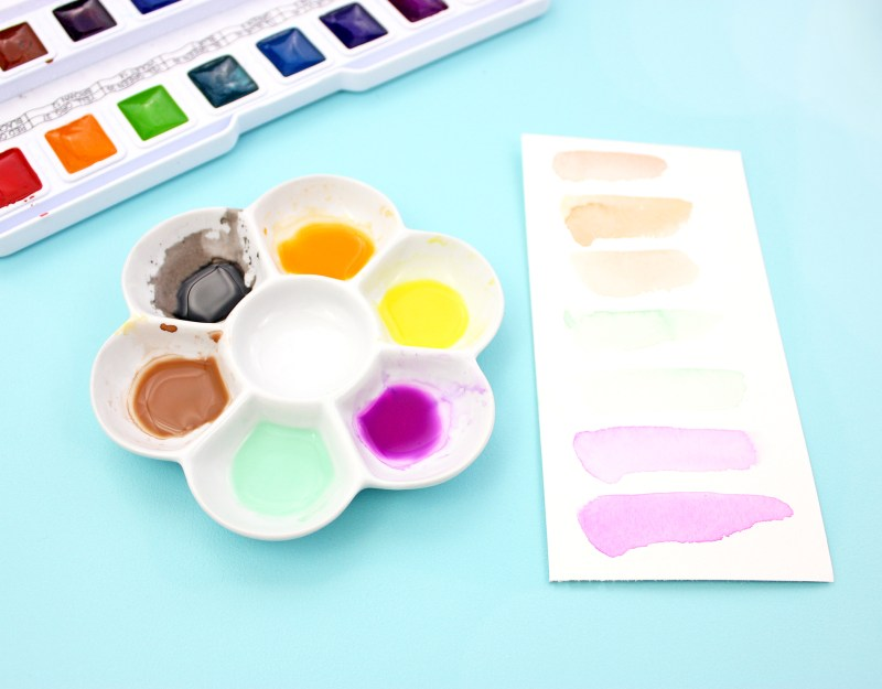 4 - watercolor palette and paint color testers